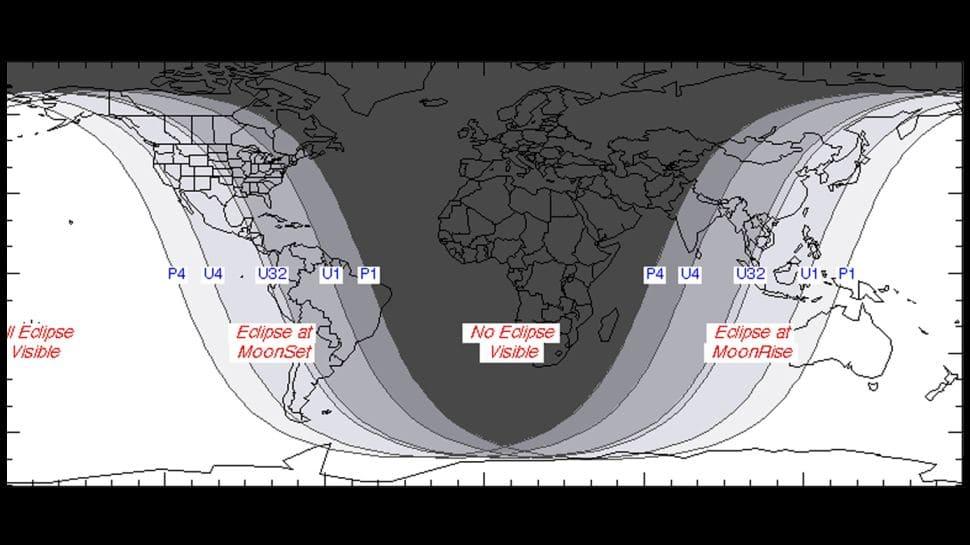 Mapa dos locais onde o eclipse lunar será visível. No centro do mapa, que mostra os continentes africano e europeu, o fenômeno não será visível.