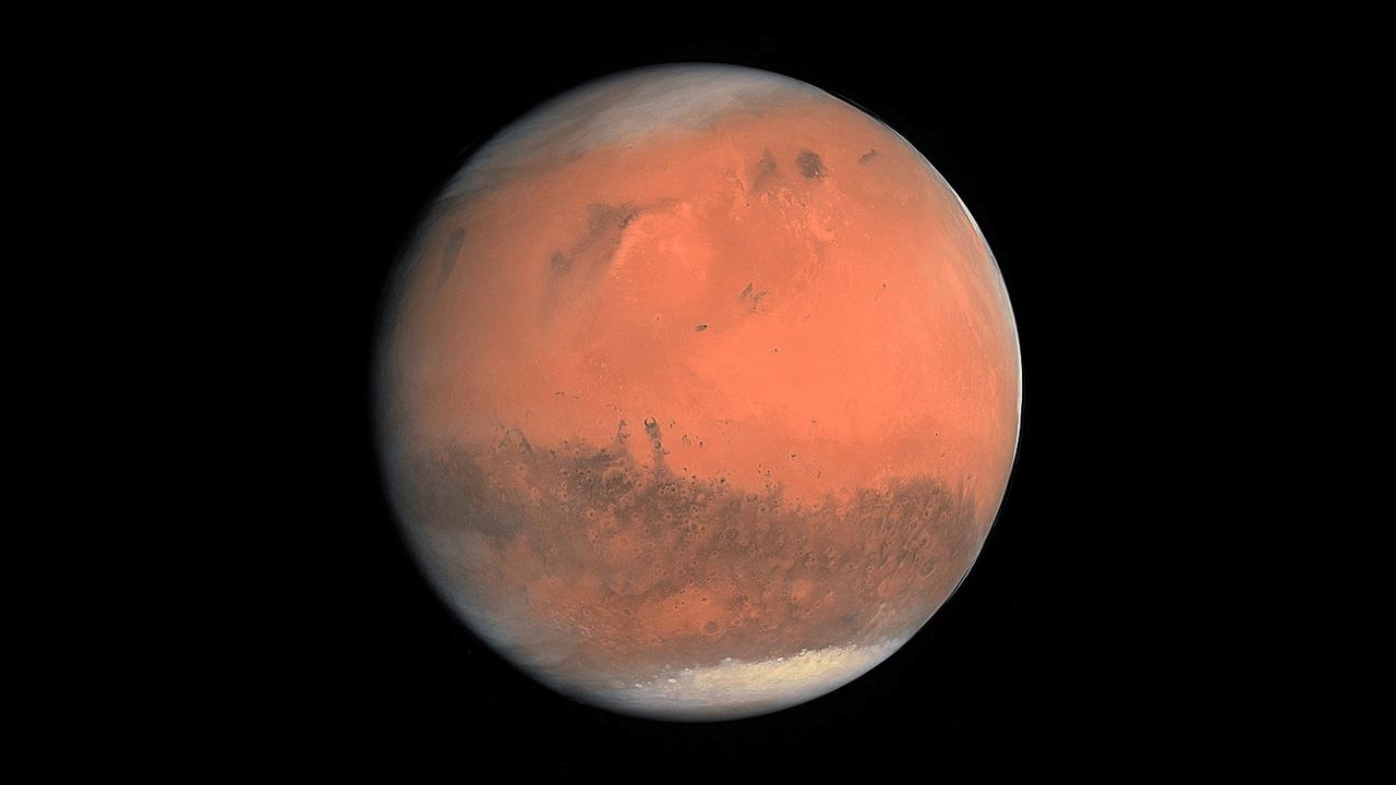 Marte registrado em fevereiro de 2007 pelo instrumento OSIRIS da sonda espacial Rosetta, lançada pela Agência Espacial Europeia.