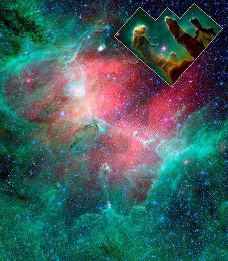 Pilares da Criação registrado pelo Telescópio Espacial Spitzer. A imagem revela uma onda de explosão de supernova que avança em direção aos pilares.